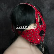 Faux Leather Spike Studded Plug Cover Mouth Gag Head Harness Restraints Red