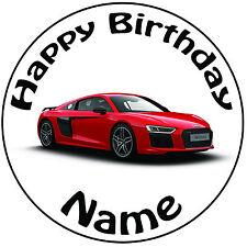 """Cumpleaños Personalizado Rojo Audi Redondo 8"""" fácil Precortada Glaseado Cake Topper"""