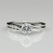 Classic Solitaire Rond Cut Color EF 0.5ct Esdomera Moissanite Engagement Ring