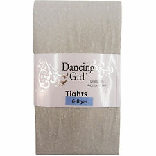 NEW CHILDS CHILDRENS GIRLS GLITTER SPARKLY PARTY SILVER TIGHTS AGE 6 / 7 / 8 YRS