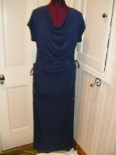 NWOT Victoria's Secret MODA S or M Navy Blue Modal Ruched Pull Sides Maxi Dress