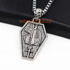 Egyptian Myth Anubis Ankh Cross Skull Stainless Steel Pendant Chain Necklace