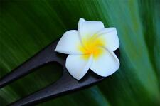 Handmade wood HAIR PIN FORK PICK Frangipani Plumeria FLOWER new painted petals