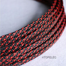 """6MM 1/4"""" TIGHT Braided PET Expandable Sleeving Cable Wire Sheath 8M Black_Red"""