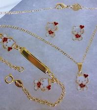 18K GF GOLD HOLIDAY HELLO KITTY HEART Girls Necklace Bracelet & Earrings 4p SET