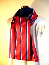 100% woven silk men's cravat/scarf  Red with stripes in shades of blue NEW