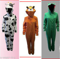 WOMENS ADULTS ONESIE ALL IN ONE JUMPSUIT. FLUFFY FLEECE. ANIMAL HOODED