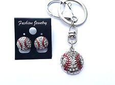 New Rhinestone .75 inch Baseball Key chain & Stud Earrings - US seller