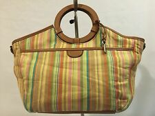 FOSSIL Multicolor Stripe Cotton Canvas Medium Shoulder Satchel Tote Purse Bag
