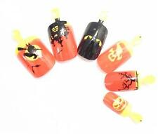 12 Halloween Tips Grusel  Airbrush Nails Orange Fledermaus +1 Feile HTT-13