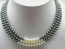 beautiful 3Rows 7-8MM Black White Natural Pearl Necklace 17-19""