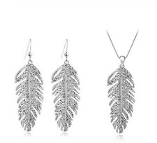 2pcs newest leaf design silver/golden necklace earring jewelry sets women's gift