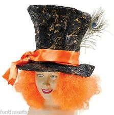Mad Hatter Hat Orange Hair Fancy Dress Costume Tea Party Alice In Wonderland