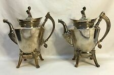 Pair Antique Victorian Silverplate Egyptian Revival Reed & Barton Coffee Tea Pot