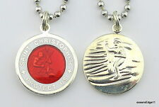 Saint Christopher Patron of Travel Surf Necklace,RE/WH,Red,White,Medium