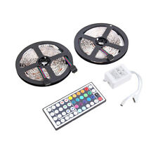 10M 600LEDS 3528 SMD RGB 2X 5M LED light strip + 44 Key IR Remote Controller LU