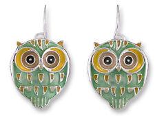 Zarah Zarlite Silver Plated Enamel Owl Dangle Earrings Artist Paul Brent
