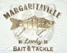 """MARGARITAVILLE Men's """"Lucky Bait & Tackle"""" Light Beige SS Graphic Tee T-Shirt XL"""