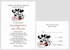 100 Personalized Custom Disney Mickey and Minnie Cute 2 Wedding Invitations Set