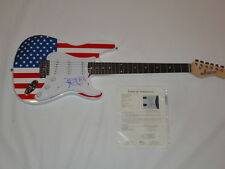 JAMES BROWN SIGNED USA FLAG ELECTRIC GUITAR I FEEL GOOD INSCRIPTION JSA LOA