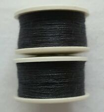 New 2 x 25m Charcoal Grey Cotton Sewing Thread Bobbins For Hand/ Sewing Machines