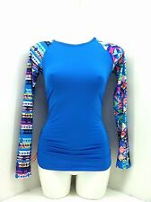 TRY Blue with Multi-color Long Sleeve Swim Top. Size S(4-6)