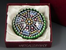 Perthshire LARGE GREEN PAPERWEIGHT MILLEFIORI CARTWHEEL TWISTED SPOKES RIBBON