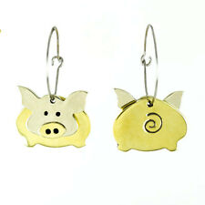 Far Fetched Dancing PIG Hoop EARRINGS Silver Brass Dangle Mima Oly - Gift Boxed
