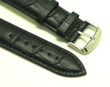 22mm Black HQ Alligator Grain Leather Replacement Watch Band - Tommy Hilfiger 22