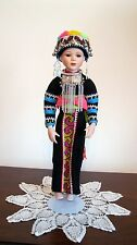 Porcelain Thai Hmong Hill Tribe Standing Doll of Northern Thailand (New)  A