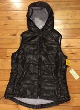 NWT Womens Black Grey TANGERINE Quilted Puffer Hooded Vest Size MEDIUM M