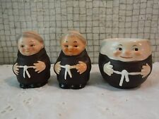 VINTAGE Goebel Friar Tuck Monk Salt + Pepper ( bee mark) and Egg Cup- W Germany