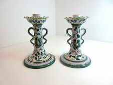 """PAIR Deruta Pottery GREEN ROOSTER Taper CANDLE STICKS 7 1/2""""  Grazia Italy"""