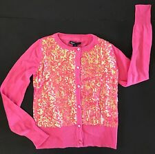 NWT GAP KIDS SEQUIN CARDIGAN SWEATER PINK GIRLS SMALL 6-7 HOLIDAY LINE SEQUINS