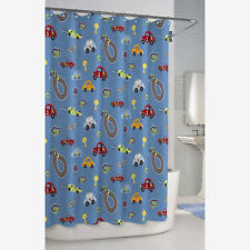 BAMBINI RACE TRACK CAR SHOWER CURTAIN