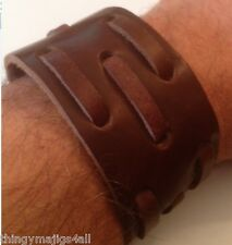 GENUINE LEATHER BROWN WRISTBAND WRIST STRAP CUFF BRACELET MENS STEAMPUNK STUD