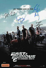 FAST AND THE FURIOUS 6 SIGNED BY 4 MEMBERS AUTOGRAPH MOVIE POSTER A2 594 x 420mm