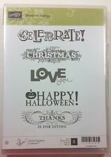 Stampin' Up! Seasonal Sayings Clear Rubber Stamp Love Christmas Birthday Thanks