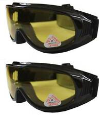 2 pars Andevan yellow Motor/Biking Goggle cover/wear over Rx glass night driving