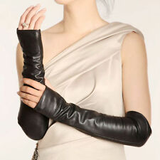 Women's Long GENUINE LEATHER Fingerless Gloves Mittens Ladies Black Hot Sale