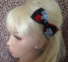 "NEW HANDMADE 4"" BLACK SKULL ROSE PRINT COTTON BOW HAIR CLIP 50S ROCKABILLY STYLE"
