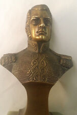 VINTAGE BRONZE BUST OF SOLDIER STAR ON EPAULETTES ONYX BASE FOOD CONDITION