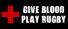 3x7 inch Give Blood Play Rugby Bumper Sticker  - decal team rugger balls players