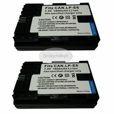 2X Fully decoded Battery for Canon LP-E6 EOS 70D 7D 60D 5D Mark II III 6D