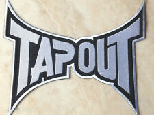 XL Tapout Patch 11 Inch Embroidered Iron on Badge MMA BJJ Jiu Jitsu Gi Black NEW