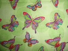 Rainbow Butterflies & Dandelions Fabric cotton quilting and sewing lavender