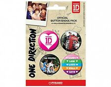 ONE DIRECTION pink 1D BUTTON BADGE PACK - SET OF 4 official merchandise 1D