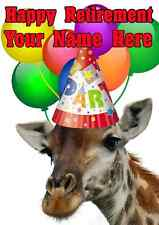 Giraffe Happy Retirement Party Hat Card codegi Personalised Greetings