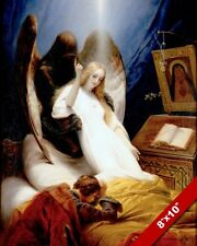 ANGEL OF DEATH TAKING A WOMAN PAINTING BIBLE CHRISTIAN ART REAL CANVAS PRINT