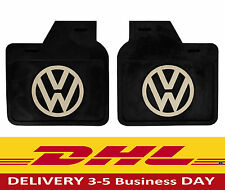 VW Split Oval Bug Beetle Kaffer Accessory Black Mud Flaps with White Logo pair